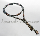 Amaranth Original Handmade Necklace - Black Freshwater Pearl Lariat with Gems and Beaded Beads
