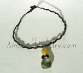 Amaranth Original Handcrafted Necklaces - Braided Silver and Rayon Cord with Fluorite Pendant