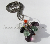 "Amaranth Original Necklaces - ""Individuality""  - Gemstones Pendant on Sterling Silver Rope"