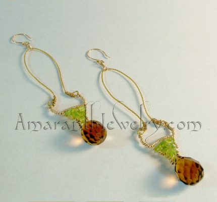 Amaranth Signature Collection - Smoky Quartz, Peridot and Vermeil Earrings, 4in