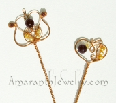 Original Handcrafted Hair Jewelry - Alhambra Hair Sticks, Copper, Amethyst, Garnet, Pearls
