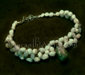 Original Handmade Amazonite and Moss Agate Choker Necklace