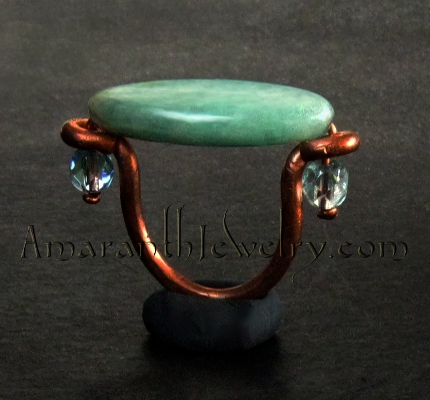 Amaranth Original Handmade Jewelry - Hand-wrought Copper and Amazonite Ring