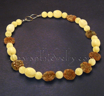 Original Handmade Necklace Aragonite and Autumn Jasper