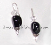 Black Agate and Snowflake Quartz Earrings