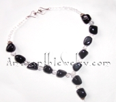 Black Agate and Snowflake Quartz Necklace