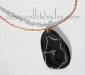 Unique Handcrafted Necklaces - Black Agate on Braided Copper Necklace