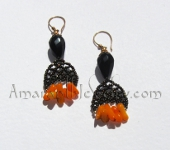 Amaranth Original Handcrafted Earrings - Black Agate and Yellow Coral Earrings