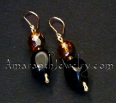 Black Agate and Amber Czech Firepolished Glass earrings