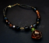 Handcrafted Necklace - Black Agate and Vermeil with Citrine Pendant