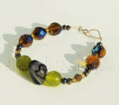 Beaded gemstone bracelet - Black Agate and Serpentine Bracelet