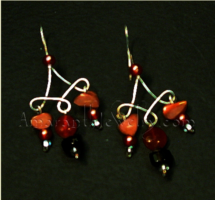Carnelian and Smoky Quartz Hand-Wrought Sterling Silver Earrings