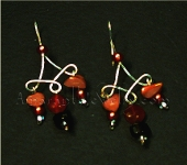 Carnelian and Smoky Quartz with Hand-wrought Sterling Silver Earrings