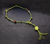 Original Handmade Necklaces - Chartreuse Kumihimo Braid with Mixed Gemstones