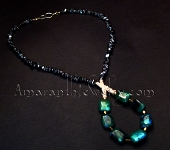 Original Handcrafted Chrysocolla and Hematite Necklace