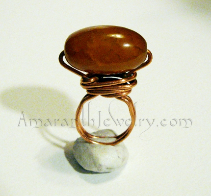 Handmade Rings - Dragon Veins Agate Copper Ring