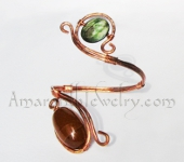Hand wrought Copper Bracelet with Dragon Veins Agate