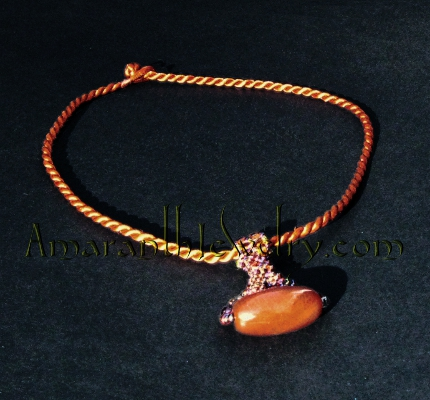 Golden Dragon Veins Agate Beaded Bail Necklace