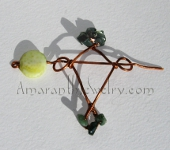 Handmade Hair Jewelry - Copper Hair Slide with Fire Agate and Moss Agate