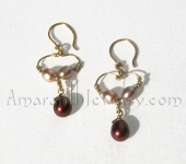 Amaranth Original Handmade Earrings - Freshwater Pearl Heart Earrings, 1.5""