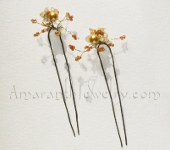 Amaranth Original Handcrafted Hair Jewellery - Gold Pearl and Citrine Hair Pins, 4.125""