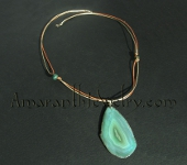 Handcrafted Green Agate Slice and Leather Necklace