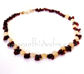 Handmade Necklaces - Aragonite and Garnet Clusters