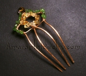 Amaranth Original Handcrafted Hair Jewelry - Olivine and Citrine Copper Hair Comb, 5.25""