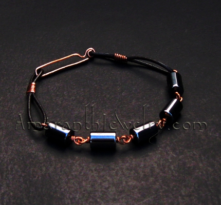 Original Handmade Men's Bracelet - Hematite, Leather and Copper