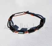 Men's Handmade Bracelet - Hematite, Leather and Copper