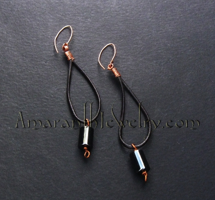 Original Handcrafted Earrings - Hematite and Leather Earrings, 4""