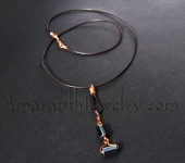 Amaranth - Original Handcrafted Jewellery - Hematite and Leather Necklace