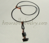 Handcrafted Leather Jewelry - Hematite and Leather Necklace