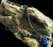 Mixed Semi-Precious Stones Long Necklace with Extra Large Lapis Lazuli Pendant