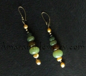 Amaranth Handcrafted Earrings - Jade and Freshwater Pearl Earrings, 3.25""