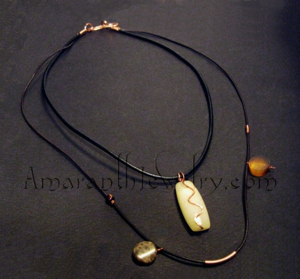 Handmade Necklaces for Guys - Two-strand Leather with Yellow Jasper