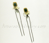 Amaranth Original Handcrafted Hair Jewellery - Montana Blue and Citrine Hair Pins, 4.5""