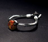 Mookaite and Leather Bracelet