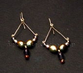 Olive Freshwater Pearls and Amethyst Earrings with Gold Filled earwires