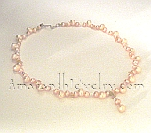 Peach and Mauve Natural Freshwater Pearl Necklace