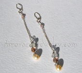 Handmade Bridal Earrings - Freshwater Pearl and Faceted Quartz