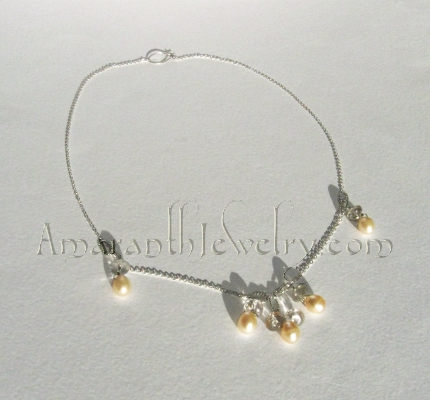 Amaranth Original Handmade Bridal Jewelry - Pearls and Faceted Quartz Necklace