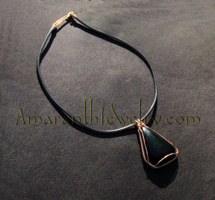 Gorgeous Rainbow Obsidian and Leather Necklace, 19.5""