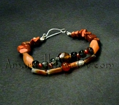 Red Agate and Smoky Quartz Bracelet