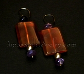 Hand made Earrings - Red Agate and Rainbow Fluorite Earrings