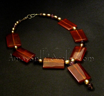Red Agate Rectangles and Freshwater Pearls Necklace