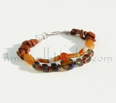 Handcrafted bracelets - Red Agate and Smoky Quartz bracelet