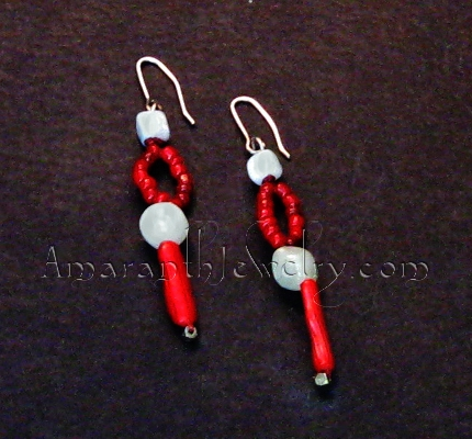 Red Coral and Amazonite Earrings