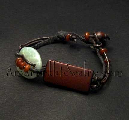 Handcrafted Men's Bracelet - Serpentine, Wood and Horn Bracelet