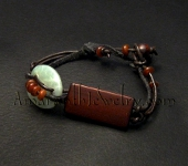 Amaranth Original Handmade Jewelry for Men - Serpentine, Wood and Leather Bracelet